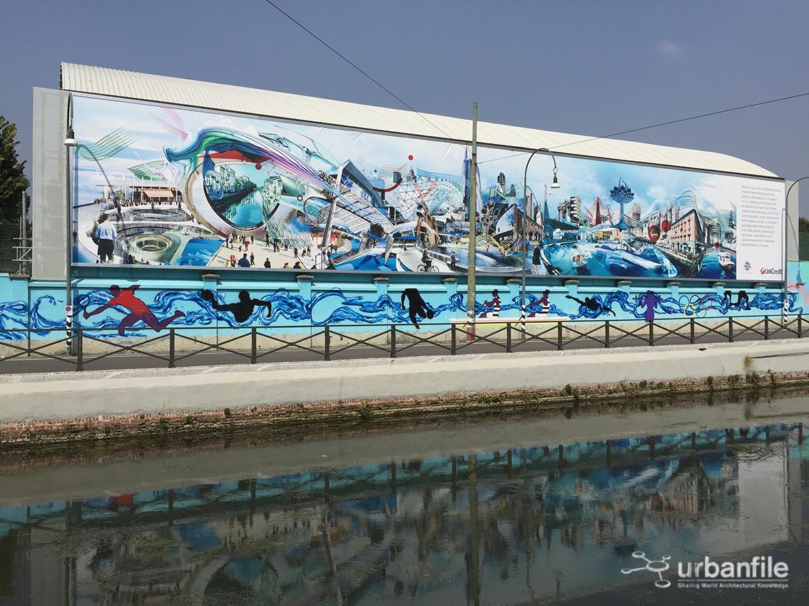 Murale realizzato dall'inglese James Dawes sulla parete dell'edificio della società canottieri di Milano - Photo credits UrbanLife