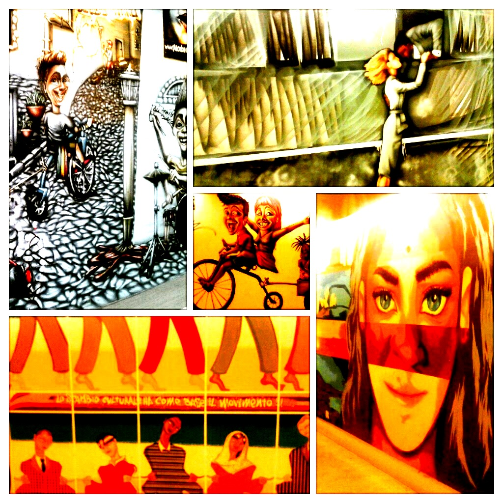 I murales lungo il corridoio del sottopasso che dalla stazione porta in via Pepe