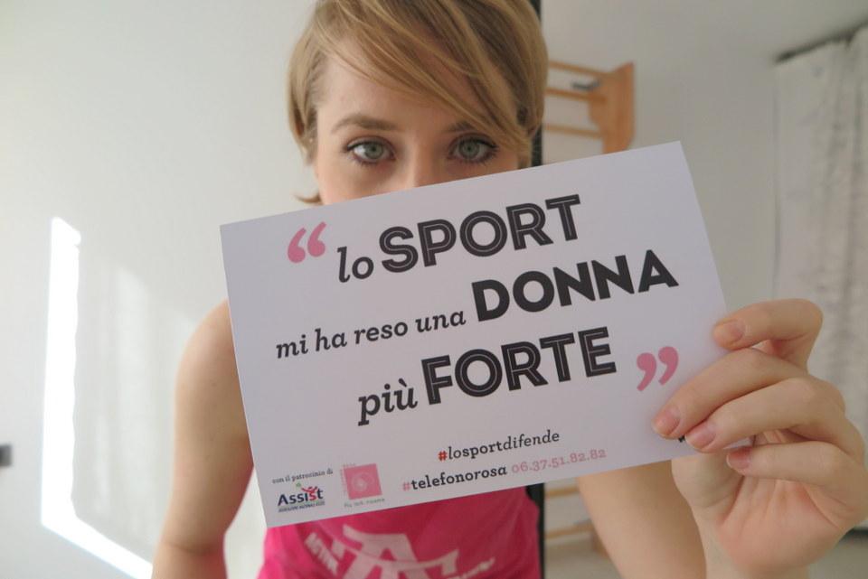 """""""Lo sport difende, la violenza offende"""", è il titolo della campagna realizzata da Valentina D'Amico, founder di Vertige, con il patrocinio di Telefono Rosa e l'Associazione nazionale atlete"""