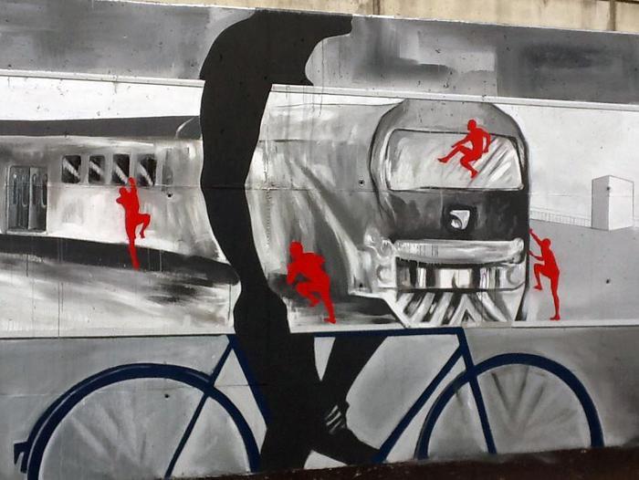 Murale raffigurante un treno metafora di dell'essere umano in continuo movimento - Forlanini - Foto by IlGiorno