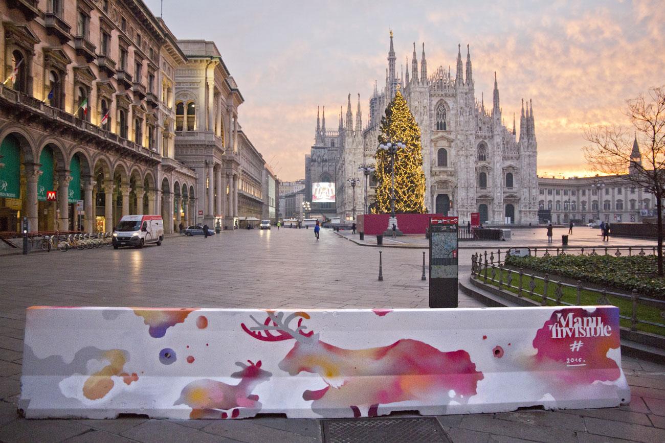 Street art in piazza duomo