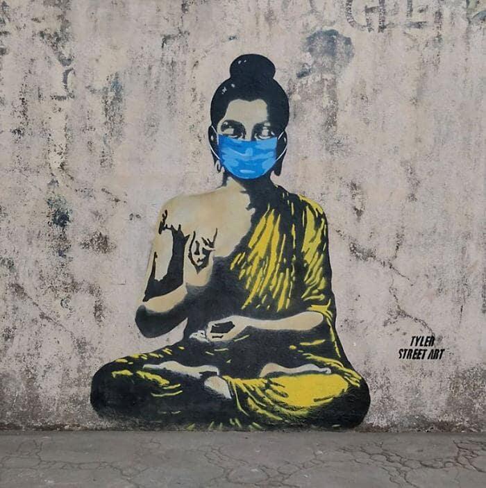 Tyler Mumbay street art coronavirus