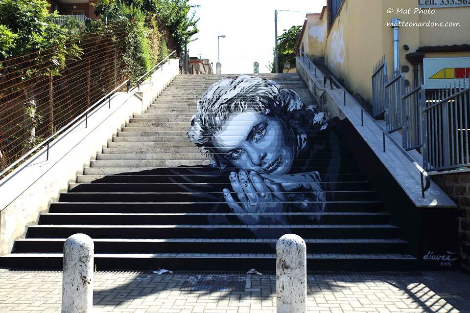 David Diavù Vecchiato,Ingrid Bergman street art roma,